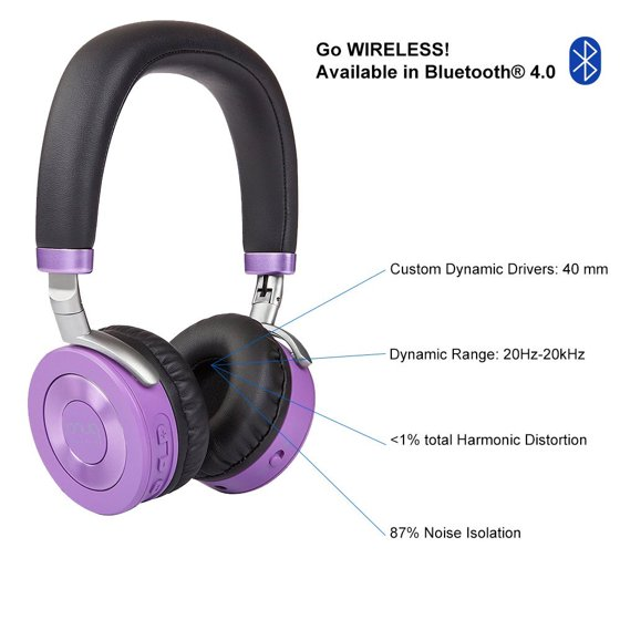 32c24e6d2d7 Puro Sound Labs Bluetooth Kids Headphones Children Wireless Headsets Volume  Limit Noise Isolation for Tablets–JuniorJams Blue - Walmart.com