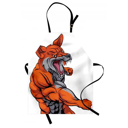 Fox Apron Muscular Fierce Fox Character Intense Sports Animal Mascot Punching Monster, Unisex Kitchen Bib Apron with Adjustable Neck for Cooking Baking Gardening, Orange Grey White, by Ambesonne