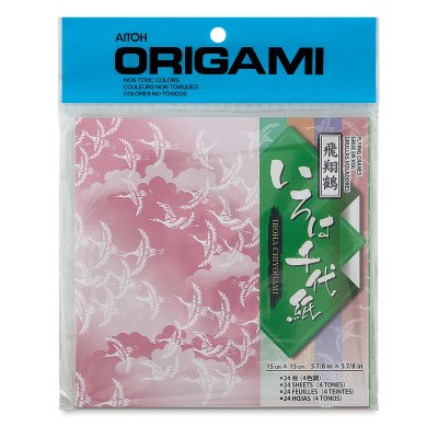 Aitoh Origami Paper Packs - Flying Cranes, 24 - Porcelain Origami Crane