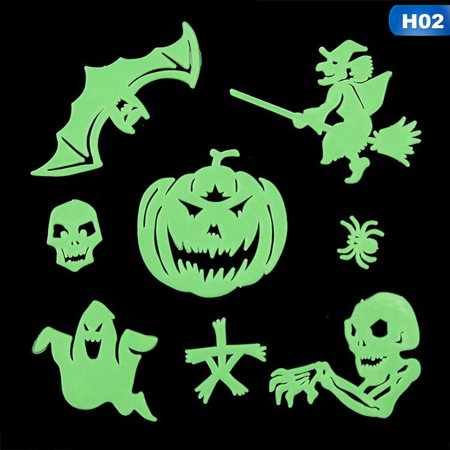 Fancyleo Glow In Dark Halloween Witch Pumpkin Skull Luminous  Party Wall Window Stickers - Halloween 2 Pumpkin Skull