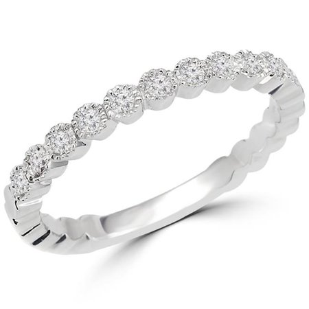 Majesty Diamonds MDR140080-P 0.16 CTW Round Diamond Semi-Eternity Wedding Band Ring in 14K White Gold - image 1 of 1