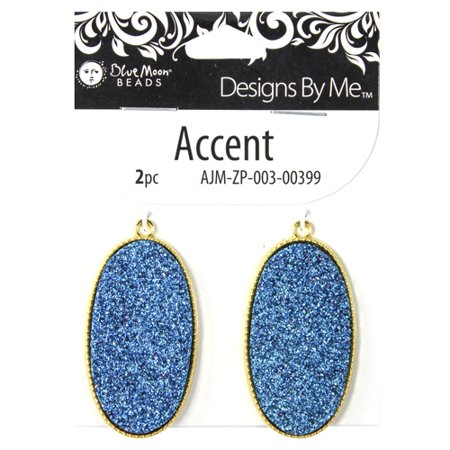 Blue Moon Beads Druzy Blue Accent, 2 Piece - Blue Moon Beads Charms