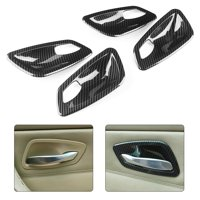 YLSHRF 4Pcs Carbon Fiber Texture Interior Door Handle Bowl Trim Cover Fit for E90 3 Series 2005-2012, Interior Door Handle Bowl Trim, Door Handle Bowl Cover Trim