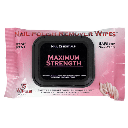(2 Pack) Nail Essentials Nail Polish Remover Wipes - Maximum (Best Nail Polish Remover Without Acetone)