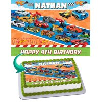 "Hot Wheels Race Car 2 Edible Cake Image Topper Personalized Birthday Party 1/4 Sheet (8""x10.5"")"