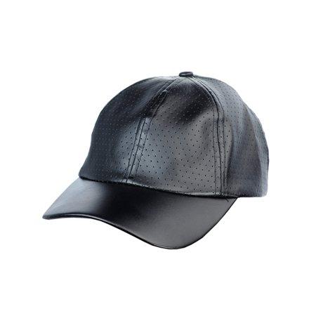 NYFASHION101 Soft PU Leather Perforated Precurved Baseball Cap, (Black Leather Baseball)