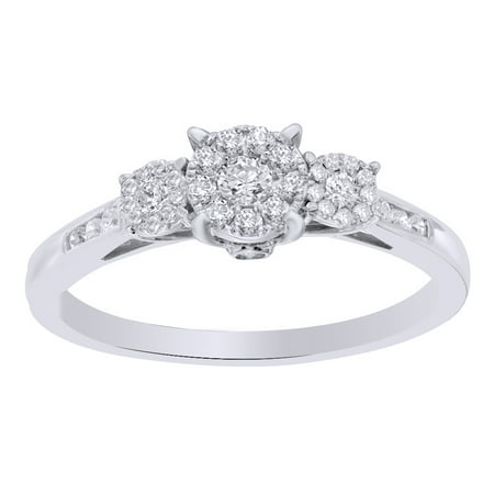 3 Cluster Diamond Ring - White Natural Diamond Cluster Three Stone Engagement Ring in 10k Solid Gold (0.33 Cttw)