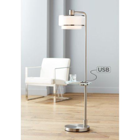 Possini Euro Design Modern Floor Lamp With Table Brushed