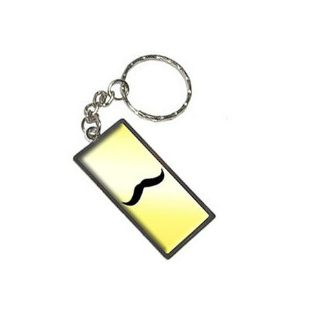 Mustache Funny Yellow Metal Rectangle Keychain for $<!---->