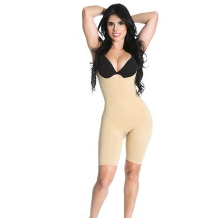 Shapextreme Slimming Mid Thigh Full Strappy Bodysuit Leg Tummy Hip Control BodyShaper Black Beige - Small / Beige