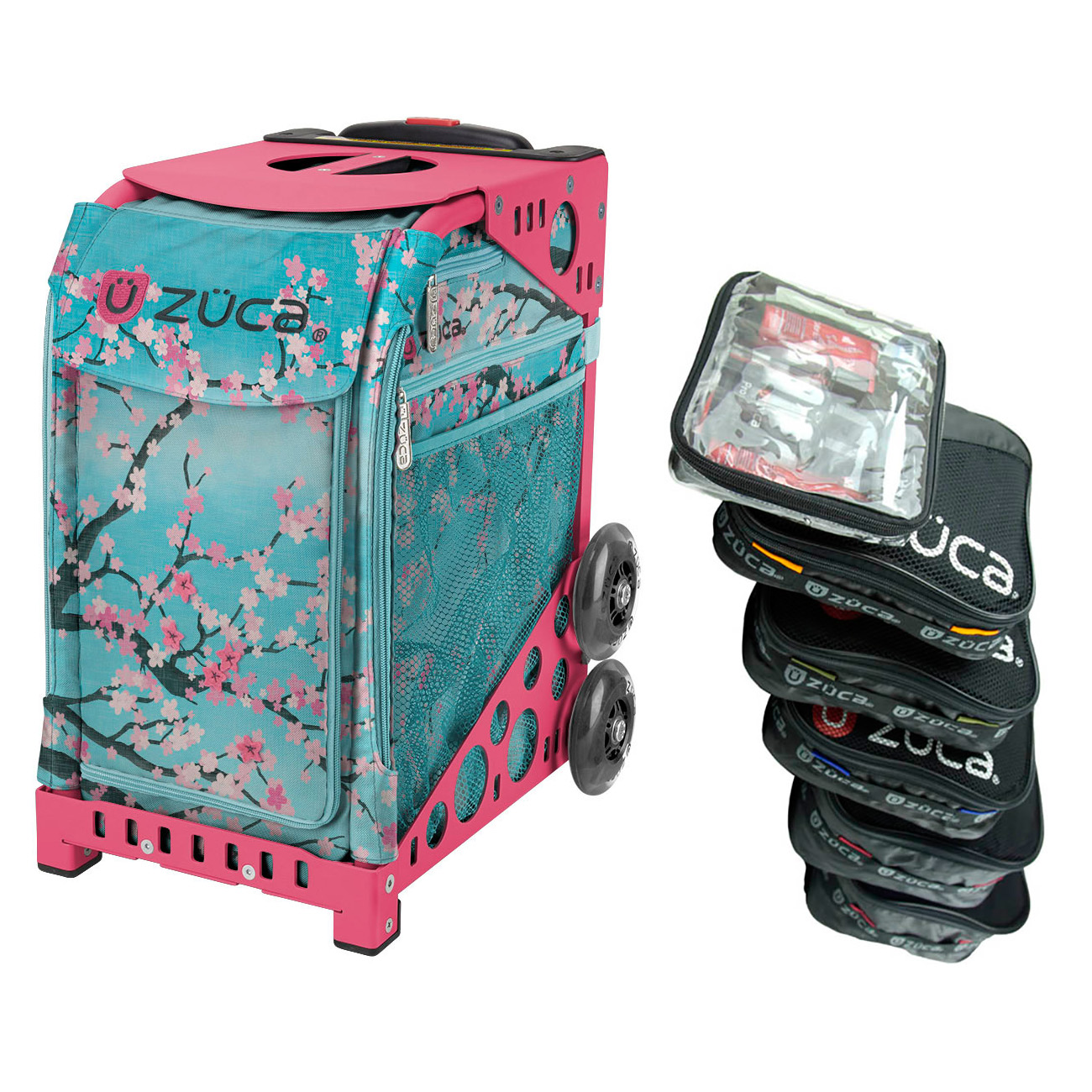 Zuca Hanami Sport Insert Bag with Pink Frame and Organization Packing Pouch Set