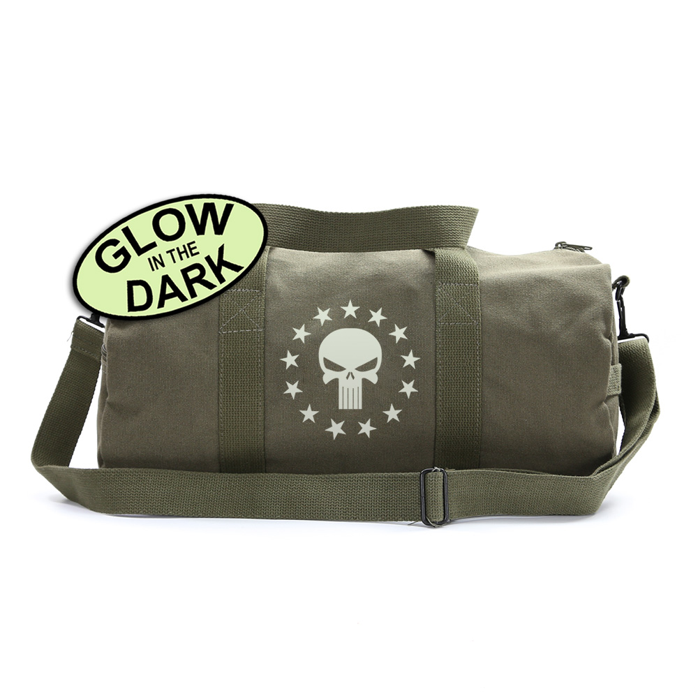 Army Sport Heavyweight Canvas Mini Backpack Bag Punisher Skull and 13 Stars