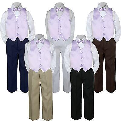 4pc Lilac Lavender Vest Bow Tie Suit Pants Set Baby Boy Toddler Kid Uniform S-7