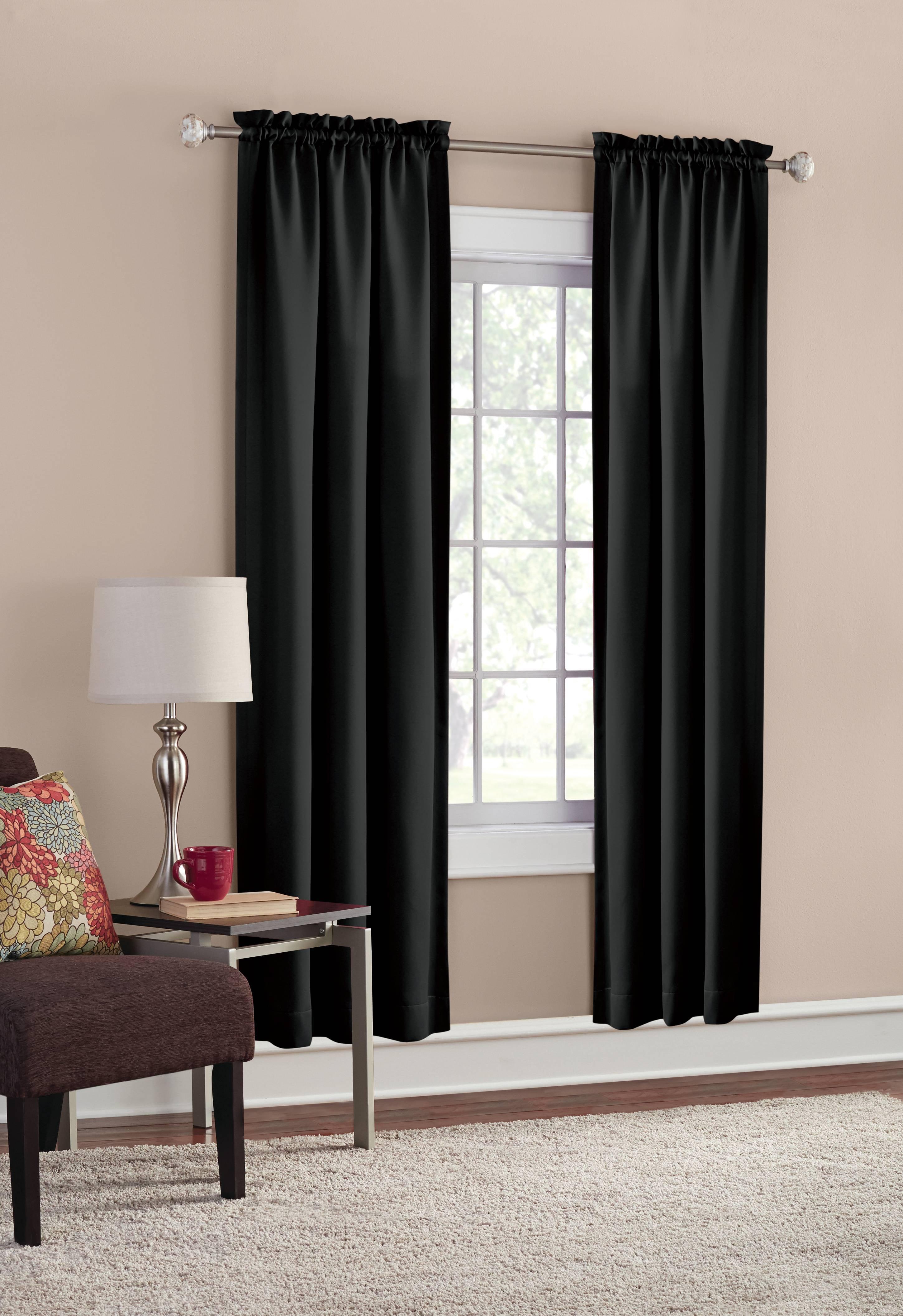 Mainstays Solid Color Room Darkening Rod Pocket Curtain Panel Pair Set Of 2 Black 30 X 84 Walmart Com Walmart Com