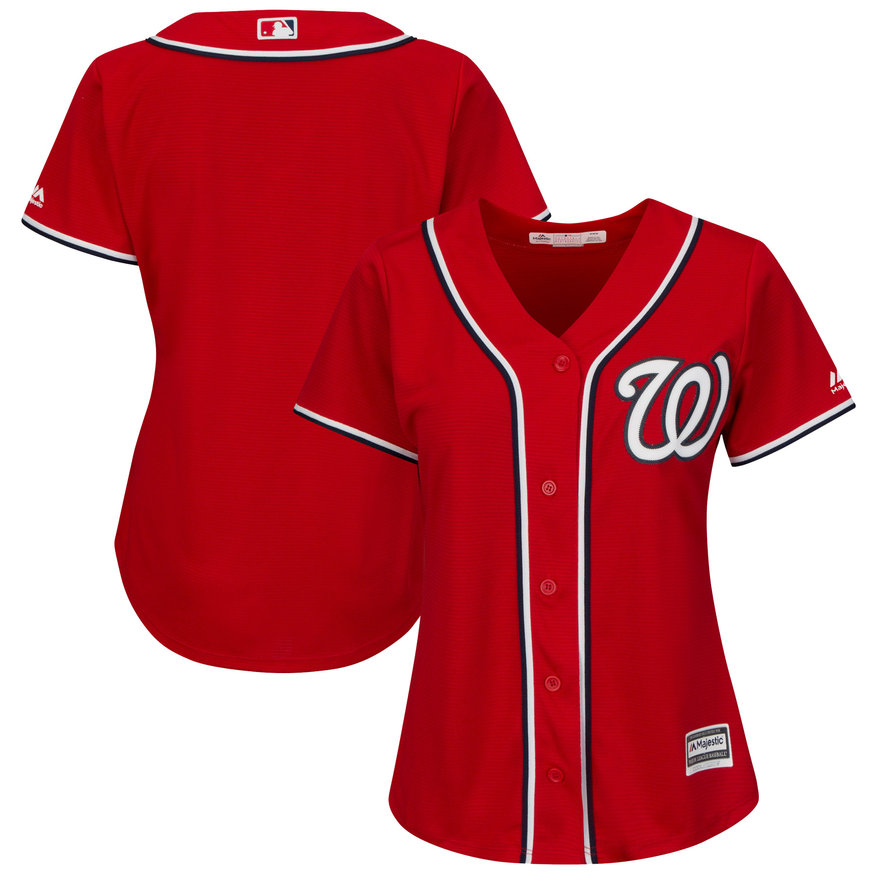 Washington Nationals Majestic Women's Alternate Plus Size Cool Base Team Jersey - Scarlet