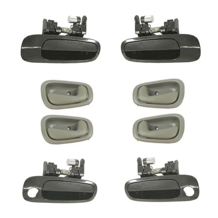 Brand New For  1998-2002  Toyota Corolla Non-Painted and Gray Outside and Inside Door Handle 8PCS 98 99 00 01 02 02 Toyota Corolla Door