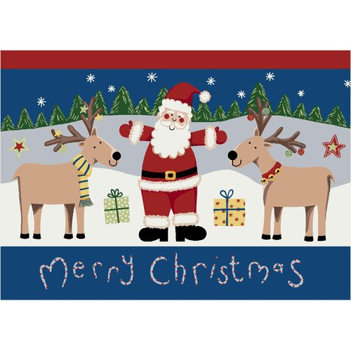 Milliken Winter Seasonal Santa Deer Christmas Doormat