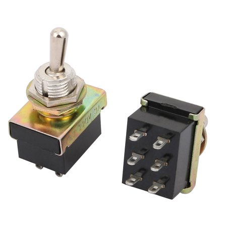 6 Pcs KN3-3 AC 220V 3A DPDT ON-OFF 2 Positions 6P Latching Toggle Switch Black - image 1 of 2