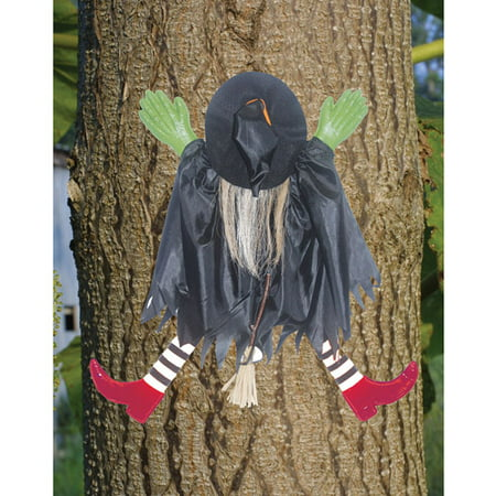 Tree Trunk Witch with Red Shoes Halloween Prop - Halloween Trunk Decorating Ideas