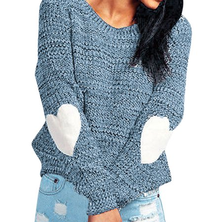 Knitting Patterns Women Sweaters (Nlife Women Long Sleeve Heart Pattern Patchwork Knited Sweater)