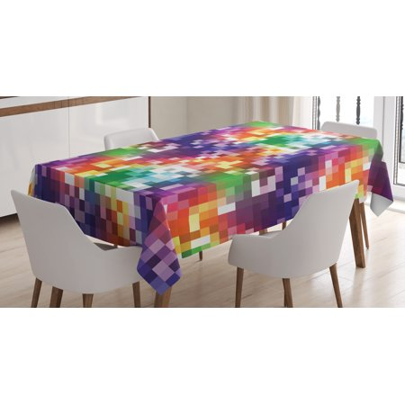 Colorful Tablecloth, Mosaic Rainbow Colored Checkered Squares Abstract Pixel Art Inspired Illustration, Rectangular Table Cover for Dining Room Kitchen, 52 X 70 Inches, Multicolor, by Ambesonne](Colorful Tablecloths)