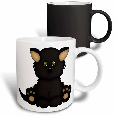 3dRose Cute Halloween Cat With Green Eyes Illustration - Magic Transforming Mug, 11-ounce - Cats Eyes Halloween