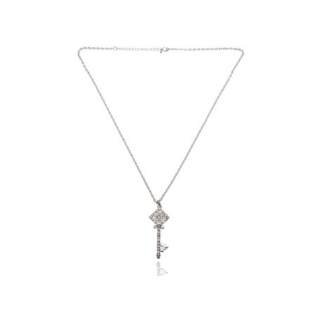 Diamond Shape Head Clear Crystal Rhinestones Unlock Key Cute Pendant Necklace