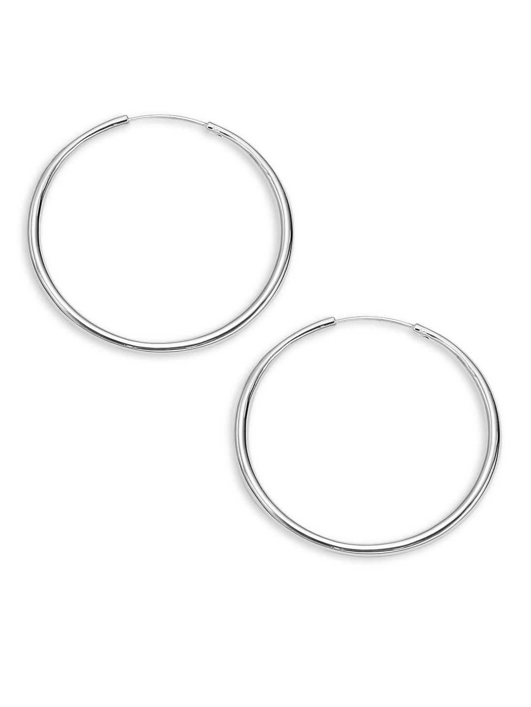 Rhodium Textured Hoop Earrings