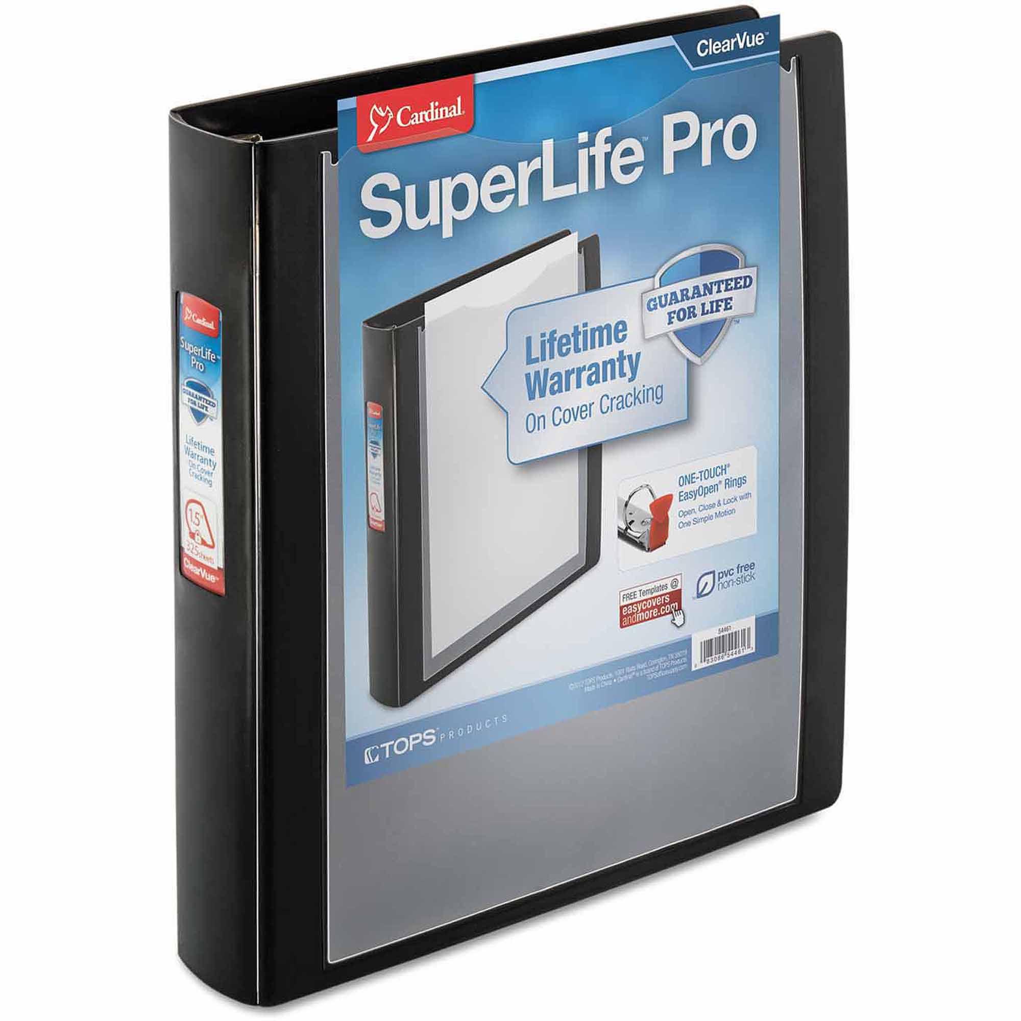 "Cardinal SuperLife Pro ClearVue EasyOpen Locking Slant-D Ring Binder, 1-1/2"" Capacity, Black"