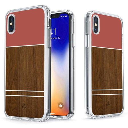 iPhone X Geometric Case - True Color Clear-Shield Rosewood & Pink Effect Printed on Clear Back - Soft and Hard Thin Shock Absorbing Dustproof Full Protection Bumper Cover