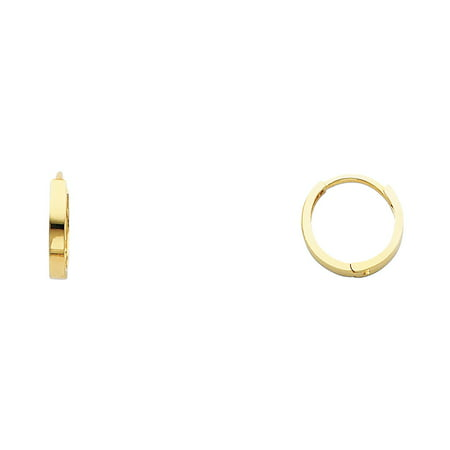 Small Polish - Round Huggie Hoop Earrings Solid 14k Yellow Gold Plain Square Tube Huggies Polished Small 11 x 2 mm