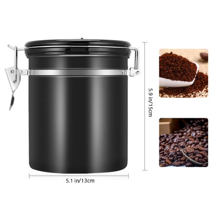HURRISE 1.5L Coffee Container Airtight, Stainless Steel Vacuum Sealed Coffee Canister ,Silver - image 4 de 7