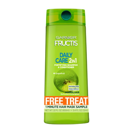 Garnier Fructis Daily Care 2-in-1 Shampoo and Conditioner with Free Treat 1 Minute Mask Sample, 1 (Free Samples Shampoo Conditioner)