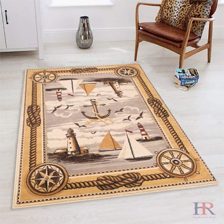 Lodge, Cabin Sailing Accent Area Rug - Modern Design Cabin Area Rug -  Abstract, Beige/Multicolor Design- Lighthouse/Anker/Sailing Boats