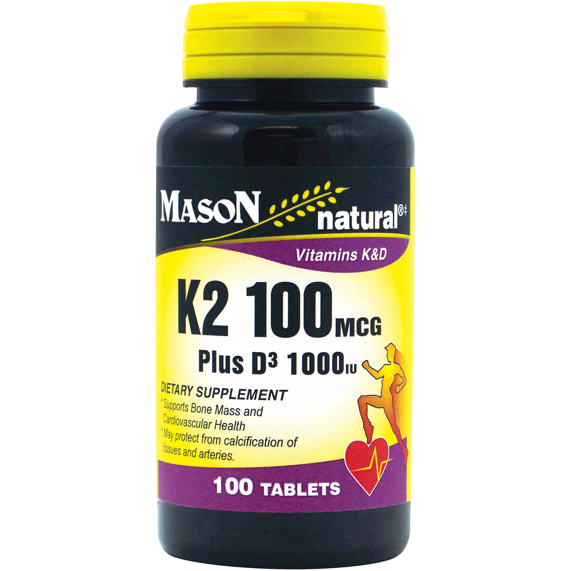 Mason natural K2 Plus D3 Dietary Supplement, 100 count