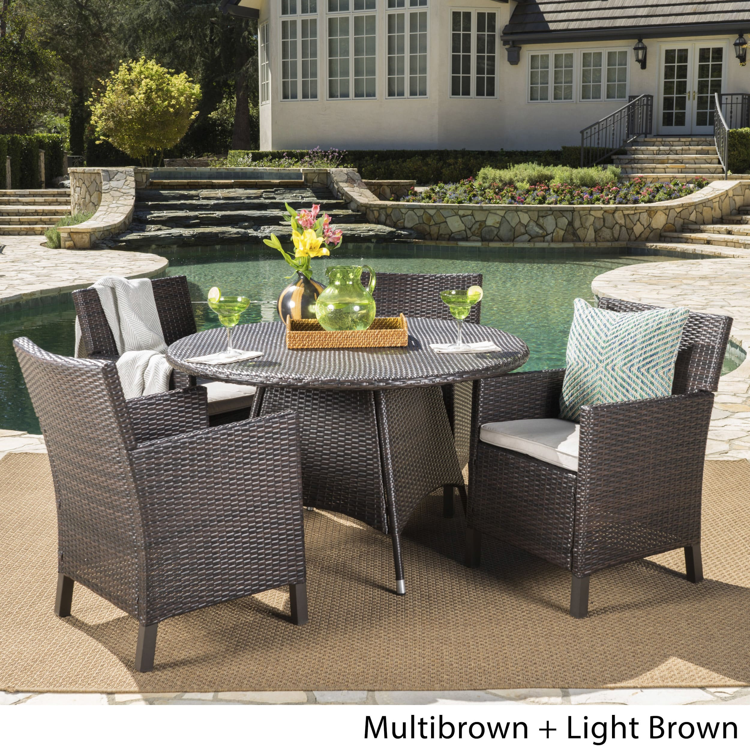 Christopher Knight Home Cypress Outdoor 5-piece Round Wicker Dining Set with Cushions & Umbrella Hole by