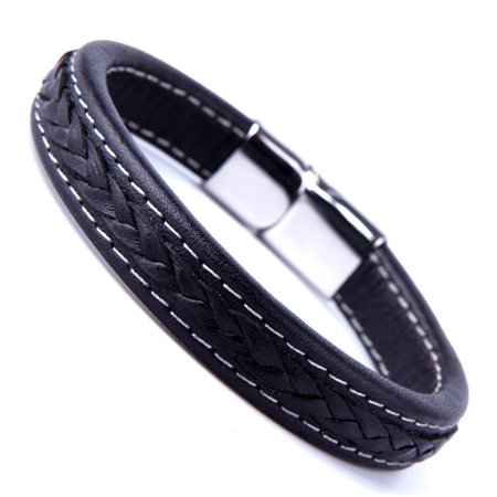 Elegant Black Cuff Genuine Leather Bracelet for Men with Elegant 316L Stainless Steel Clasp (Back Cuff Bracelet)