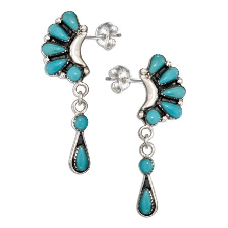 Multi Stone Dangle - STERLING SILVER MULTI STONE SIMULATED TURQUOISE CRESCENT EARRINGS WITH DANGLES