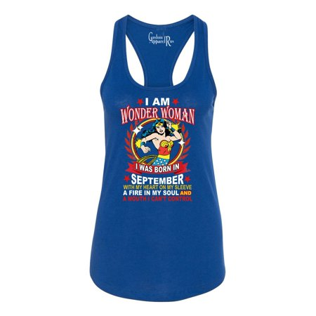 Wonder Woman Born In September Superhero Womans Racerback Tank Top - Superhero Tank Tops