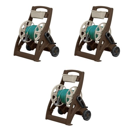 Suncast 225 Foot Capacity Hosemobile Pro Garden Hose Reel Cart, Mocha (3 Pack)