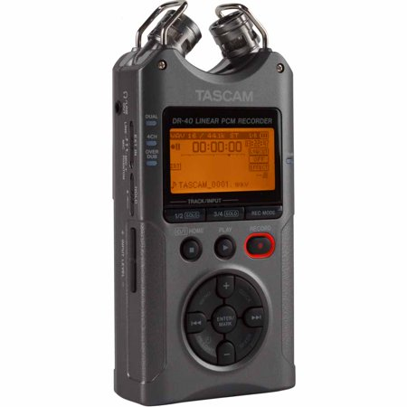 Tascam DR-40 Linear PCM 4-Track Handheld Portable Audio Recorder Luminous Grey
