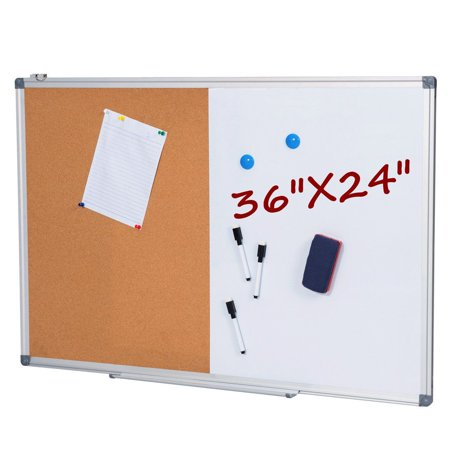 36 x 24 Inch Dry Erase and Cork Bulletin Board Set 1/2 Corkboard Whiteboard - Bulletin Board Ideas For Spring