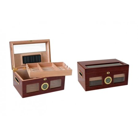 Valencia Desktop Cigar Humidor w/ Digital Hygrometer - High Gloss Golden Cherry Finish - Capacity: 120 ()