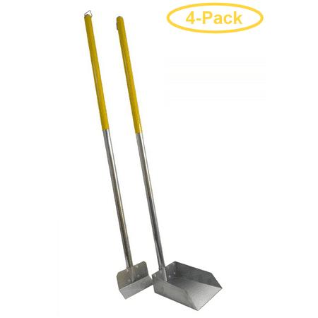 Flexrake The Scoop - Poop Scoop & Spade with Aluminum Handle Small - 3' Handle - 6.5 Wide Pan with 5.5 Wide Spade - Pack of 4