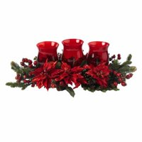 Poinsettia and Berry Triple Candleabrum