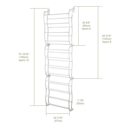 SortWise 36-Pair Shoe Rack Over The Door Shoe Shelf Storage Organizer, White - image 1 of 5