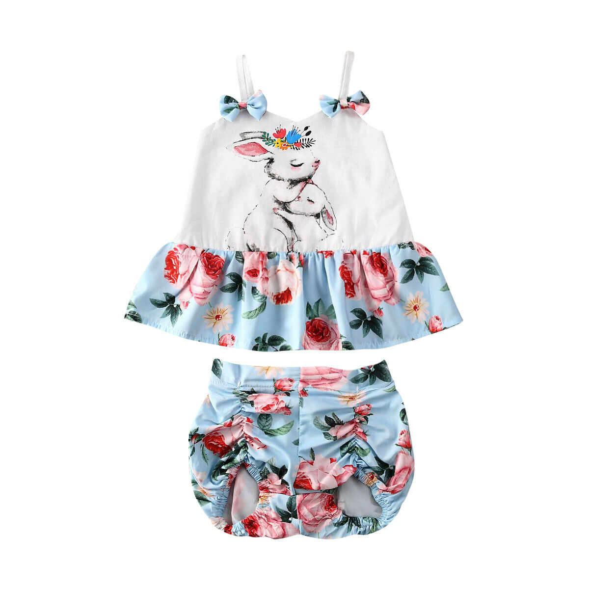 Short Pants Baby Girls Summer Outfits Set Floral Ruffle Sleeve Tank Tops