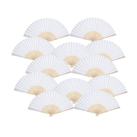 12 Pack Hand Held Fans White Paper fan Bamboo Folding Fans Handheld Folded - Hand Held Paper Fans