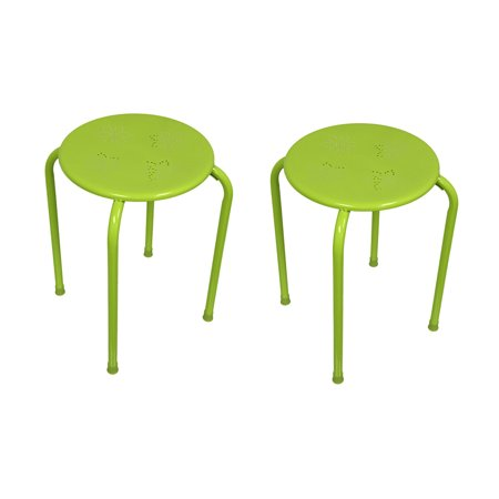 Tremendous Set Of 2 Green Metal Retro Flower Stool Tables 17 Inch Uwap Interior Chair Design Uwaporg