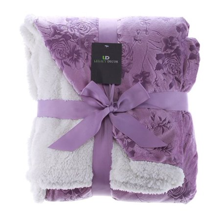 Legacy Decor Sherpa and Micro Fur Floral Embossed Throw Blanket Lavender Color